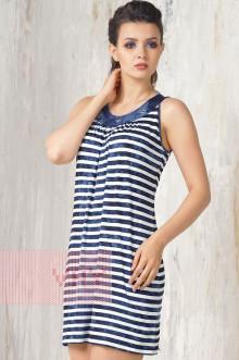 Платье женское 3301 Фемина (Полоска варенка темно-синий/варенка темно-синий)