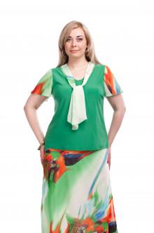 """Блуза """"Олси"""" 1510022/2 ОЛСИ (Зелёный/Оранжевый)"""